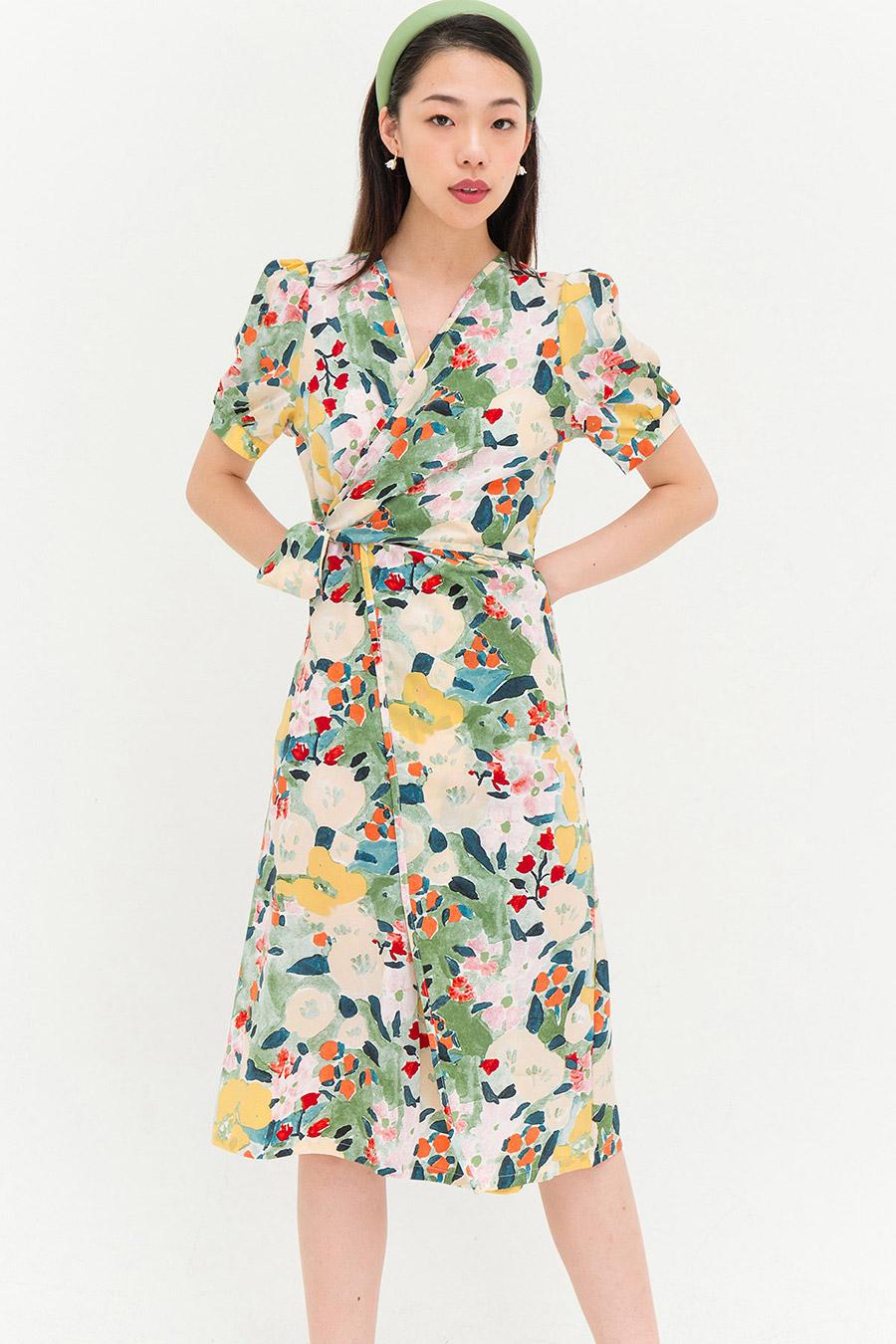 GRETA DRESS - SAGE FLEUR