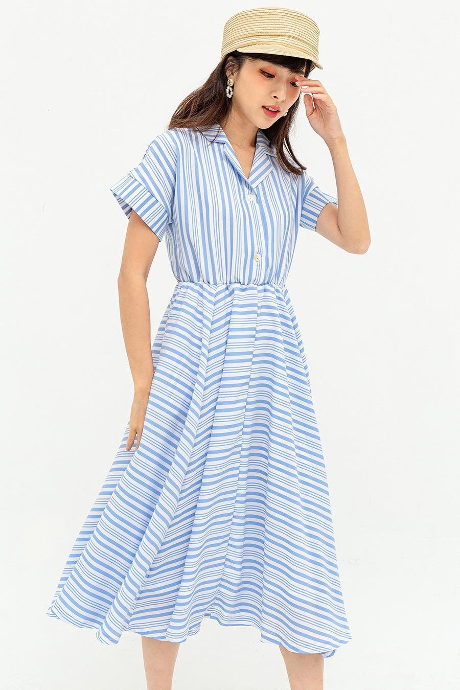 HARLEY DRESS - MILK JUG STRIPE [BY MODPARADE]