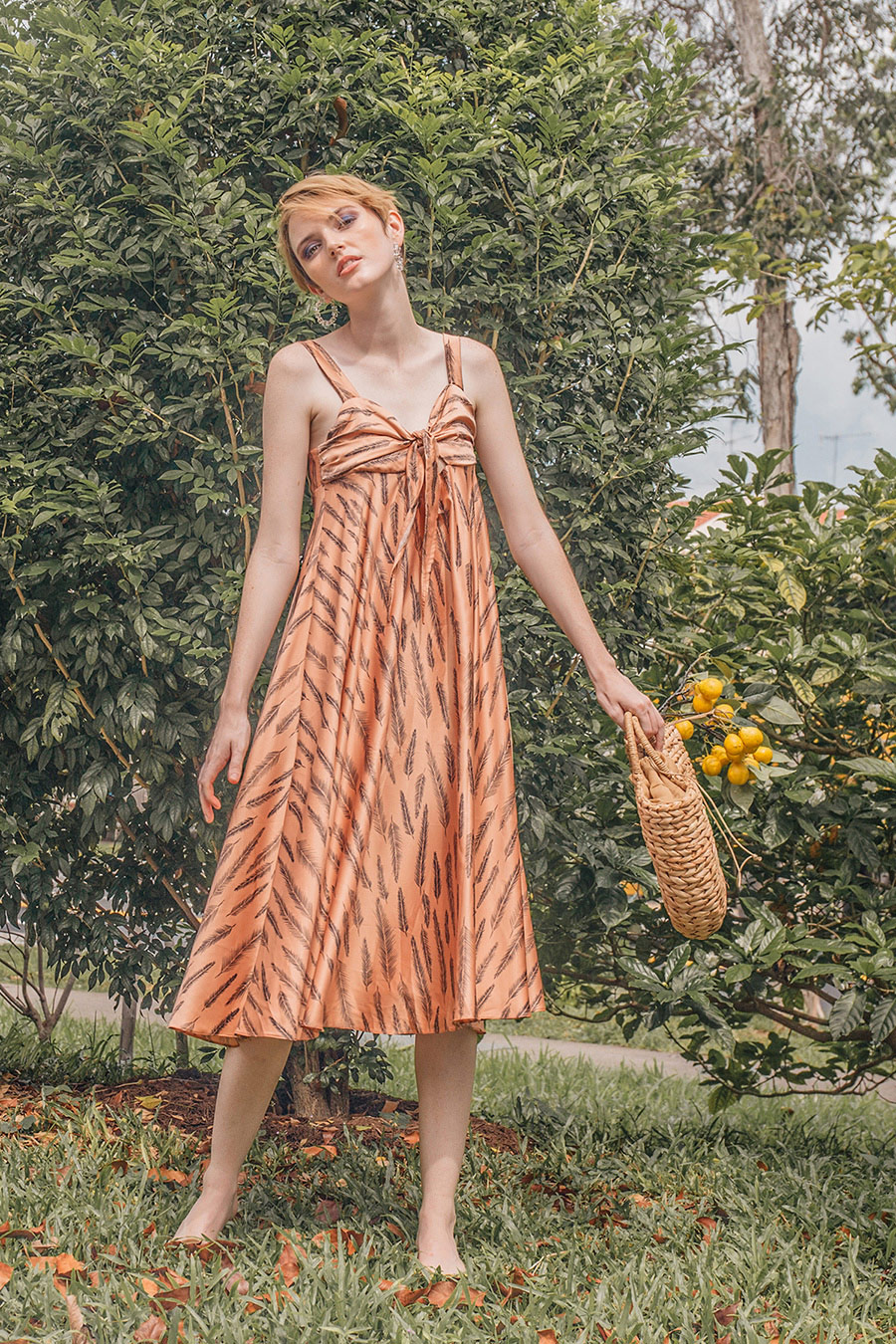 *SALE* HARRIETTE MIDI DRESS - CANTALOUPE [BY MODPARADE]
