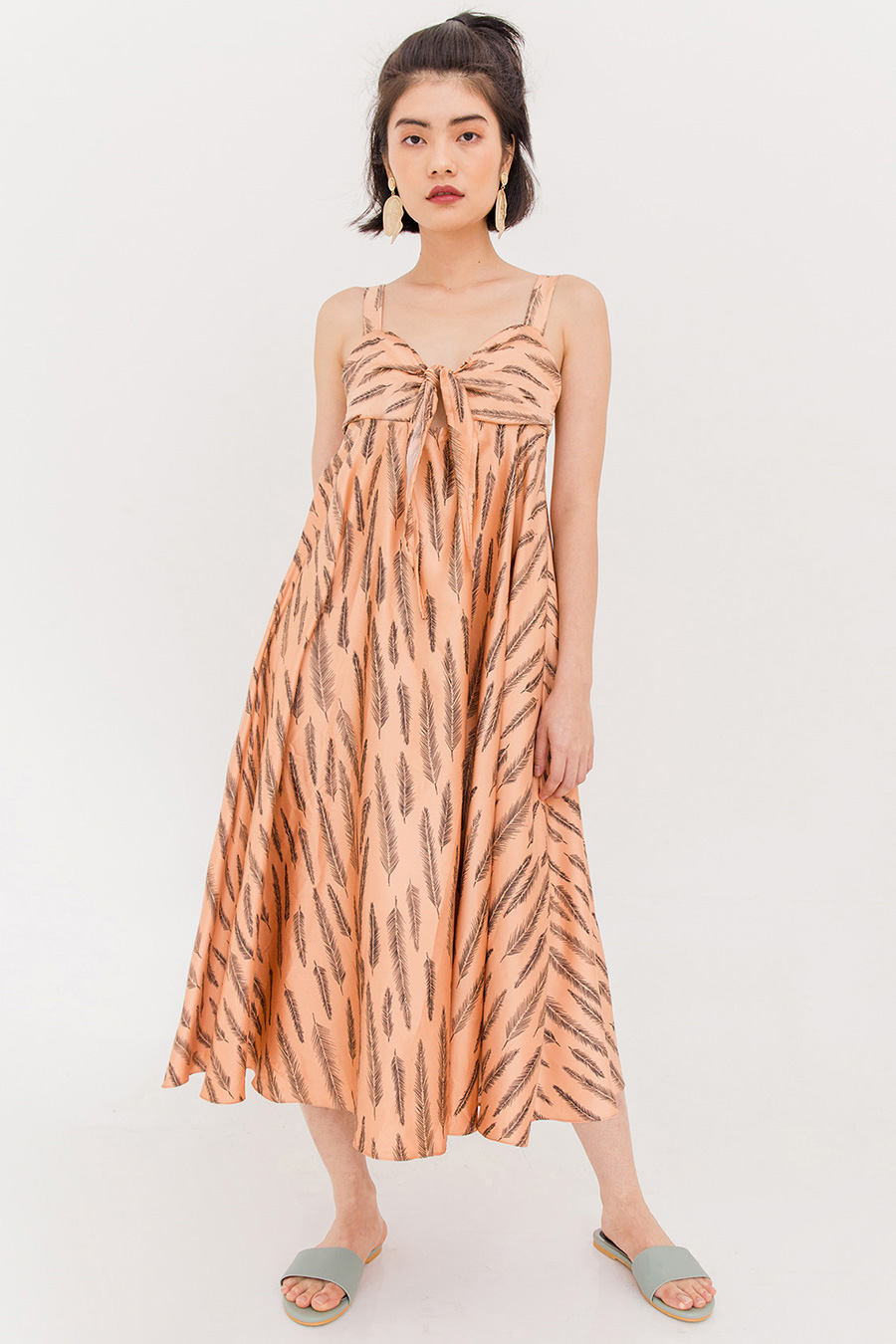 HARRIETTE MIDI DRESS - CANTALOUPE [BY MODPARADE]