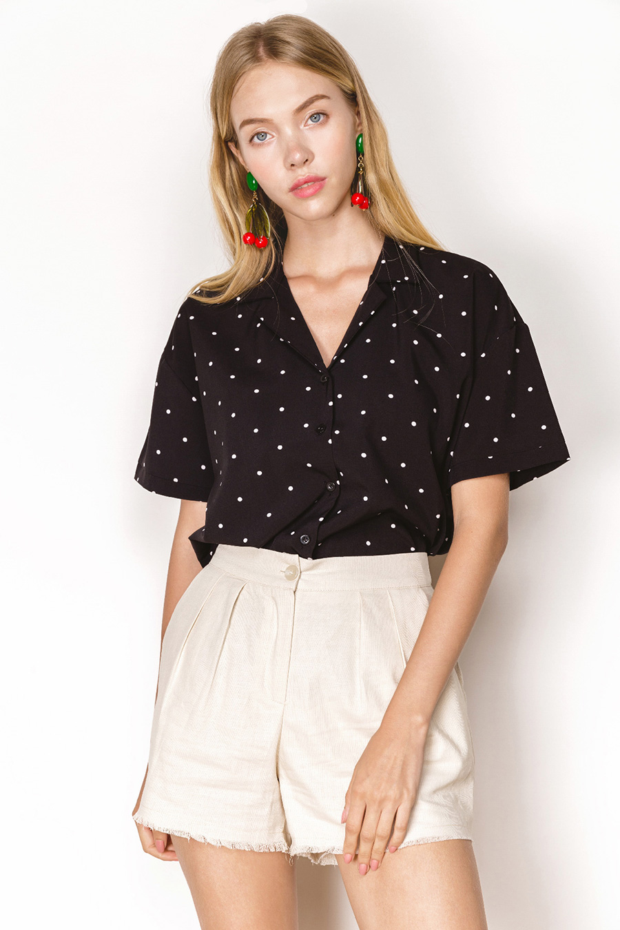 *RESTOCKED* HEATHER TOP - NOIR DOTTY