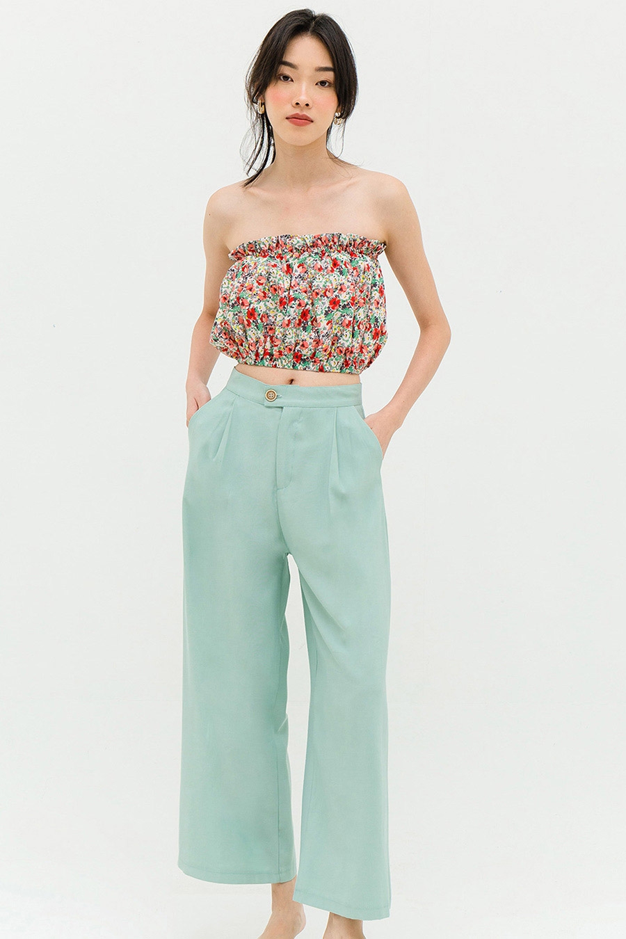 *RESTOCKED* INES PANTS - GREEN SPRING