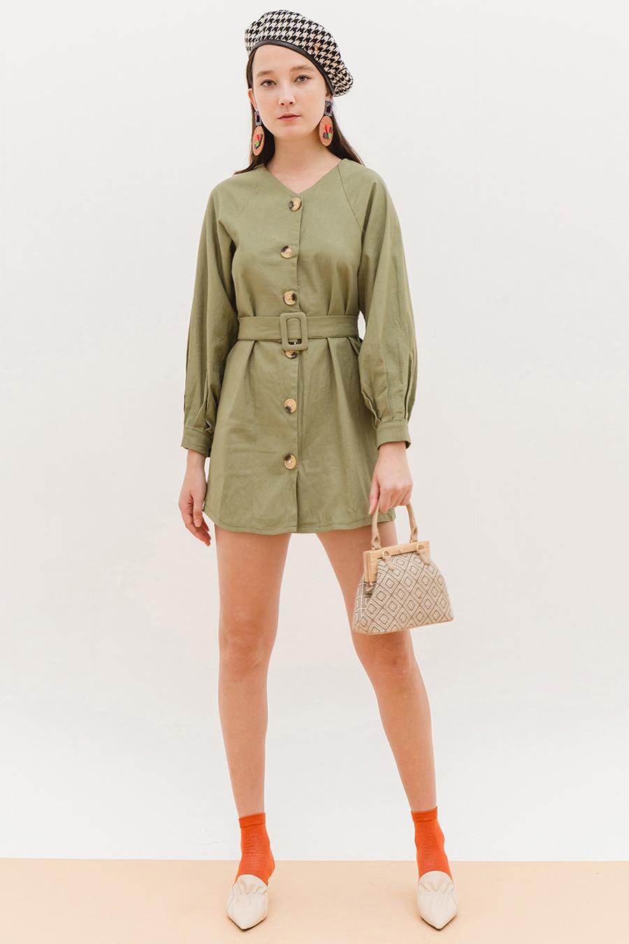 INGRID DRESS - OLIVE