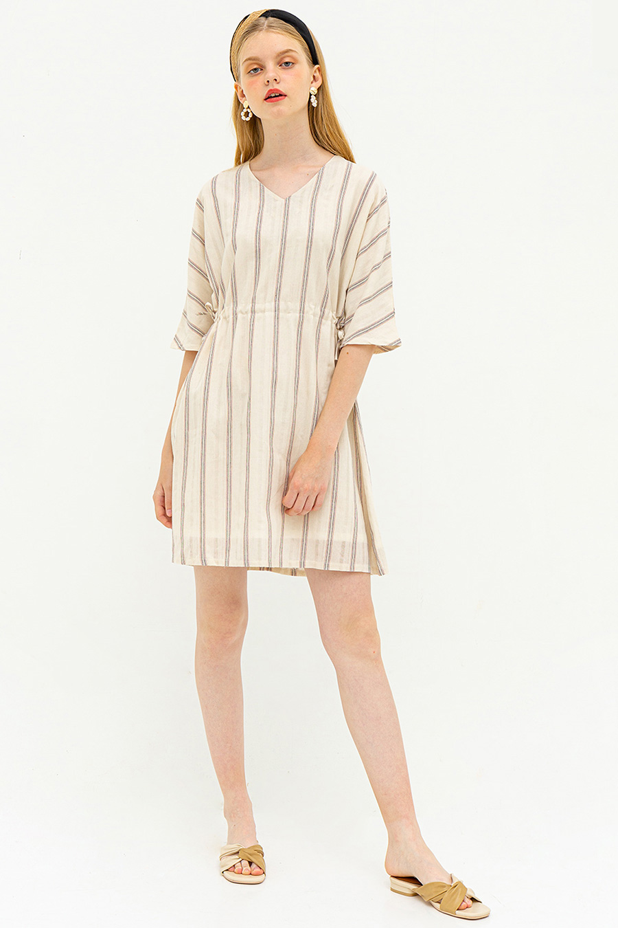 IZZEY DRESS - DESERT SAND STRIPE [BY MODPARADE]