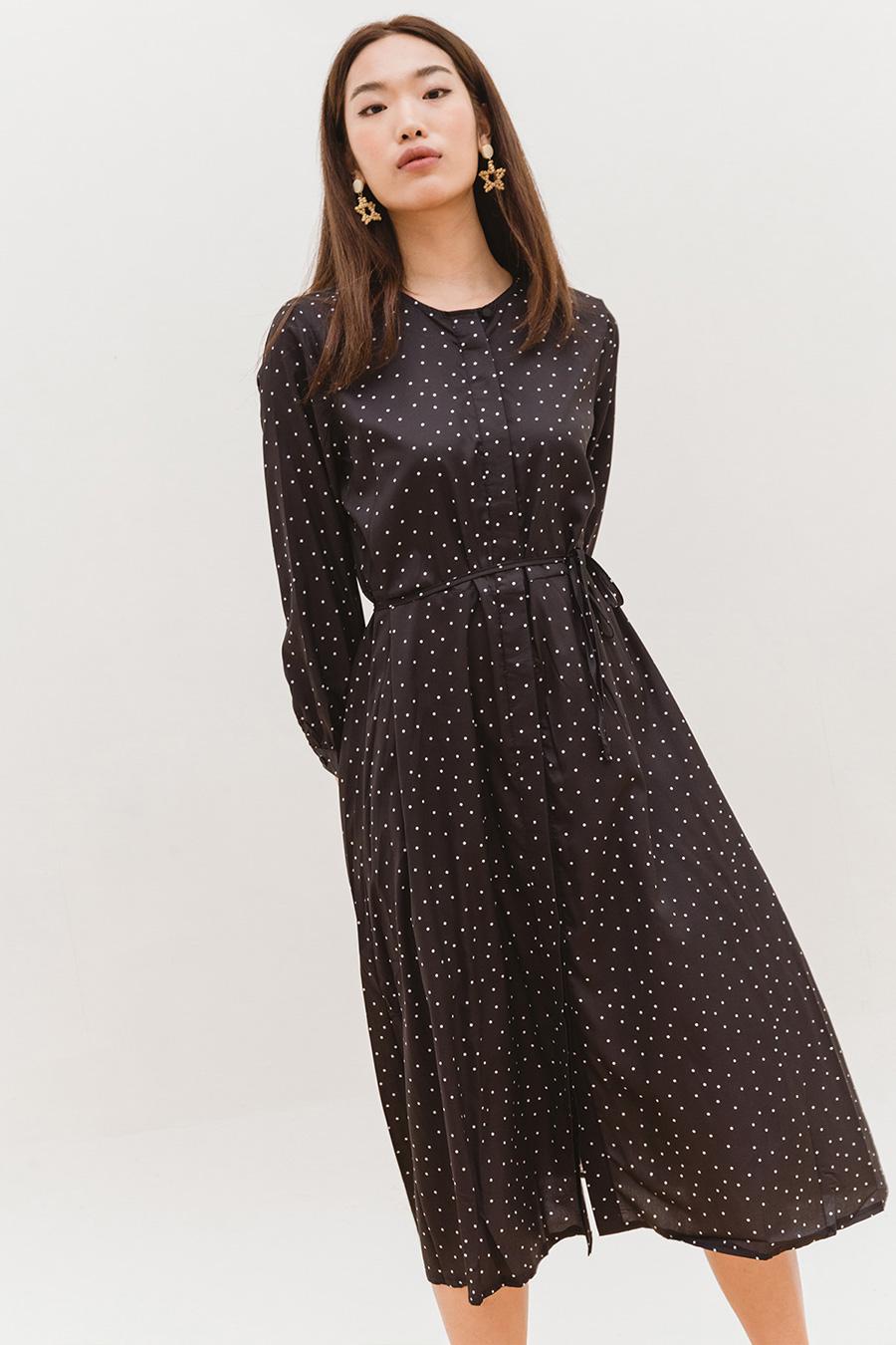 *BO* JEANNE DRESS - NOIR DOTTY