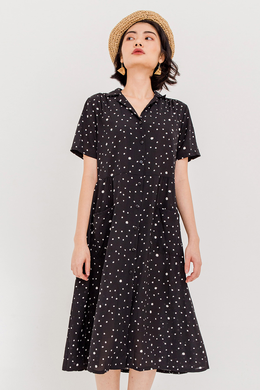 JOANNA DOTTED MIDI DRESS - NOIR