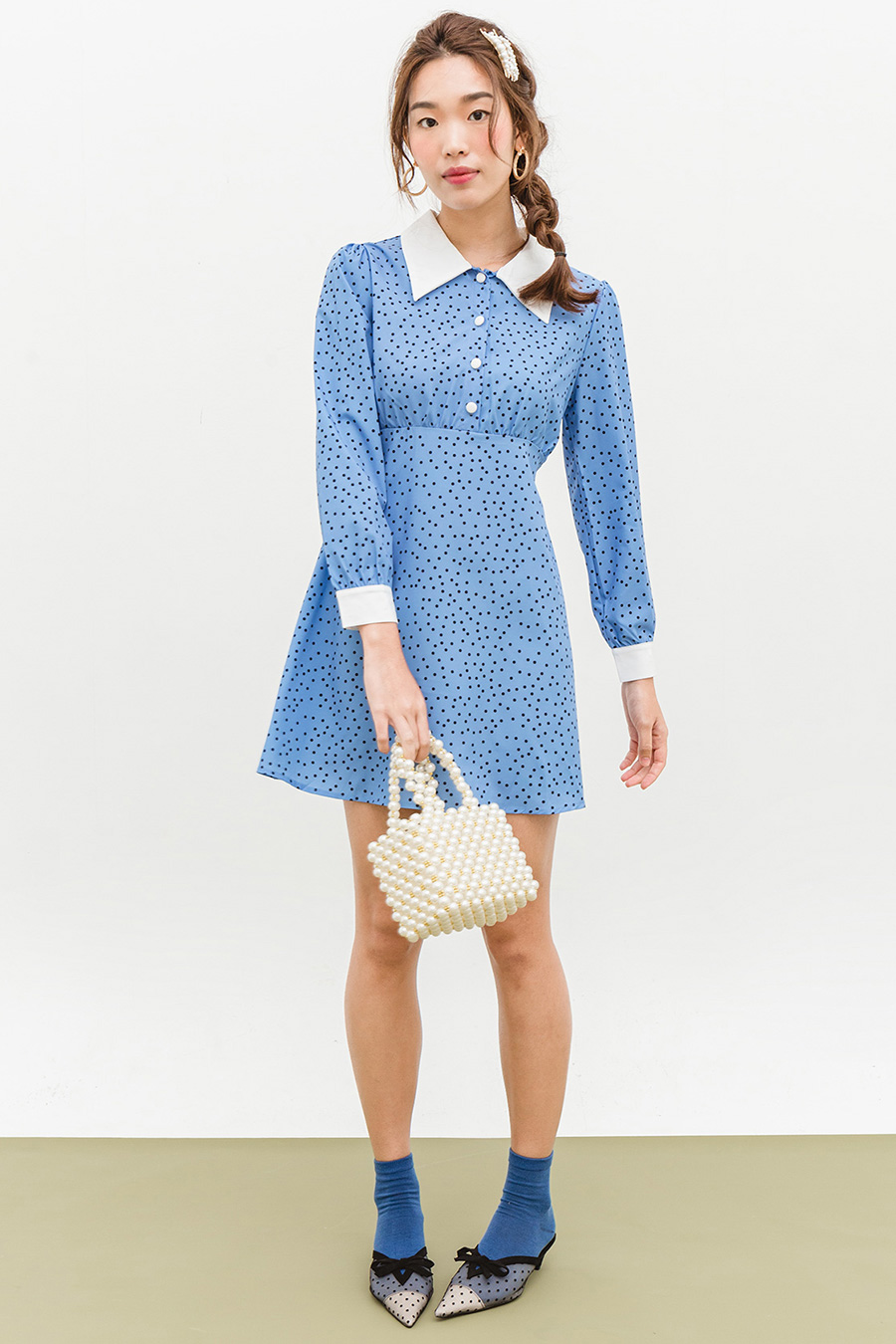 *RESTOCKED* JOHANN DRESS - POWDER DOTTY