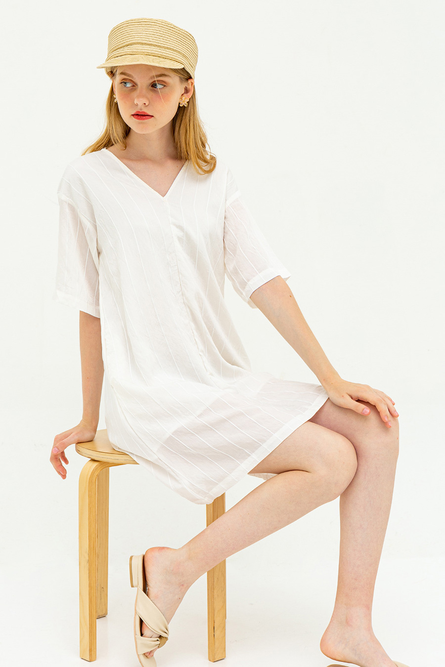 JOLANTA DRESS - BLANC STRIPE [BY MODPARADE]