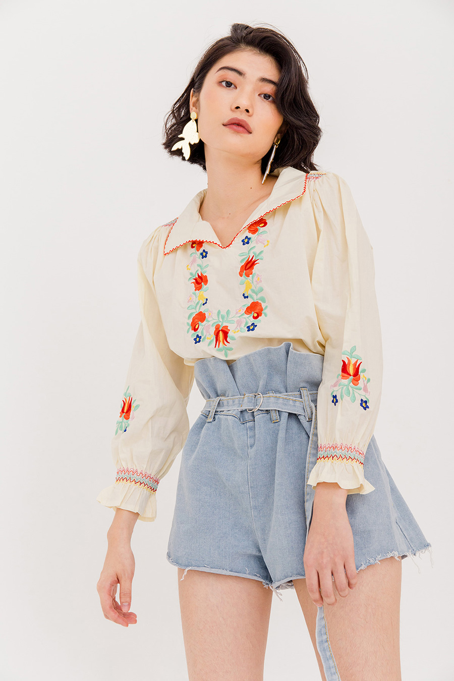JUNE EMBROIDERY BLOUSE - IVORY CREAM