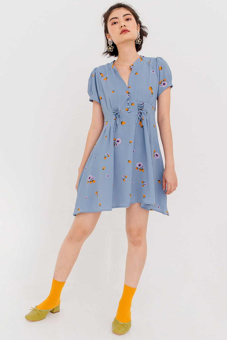 *BO* LALA FLORAL LACED DRESS - BLUE