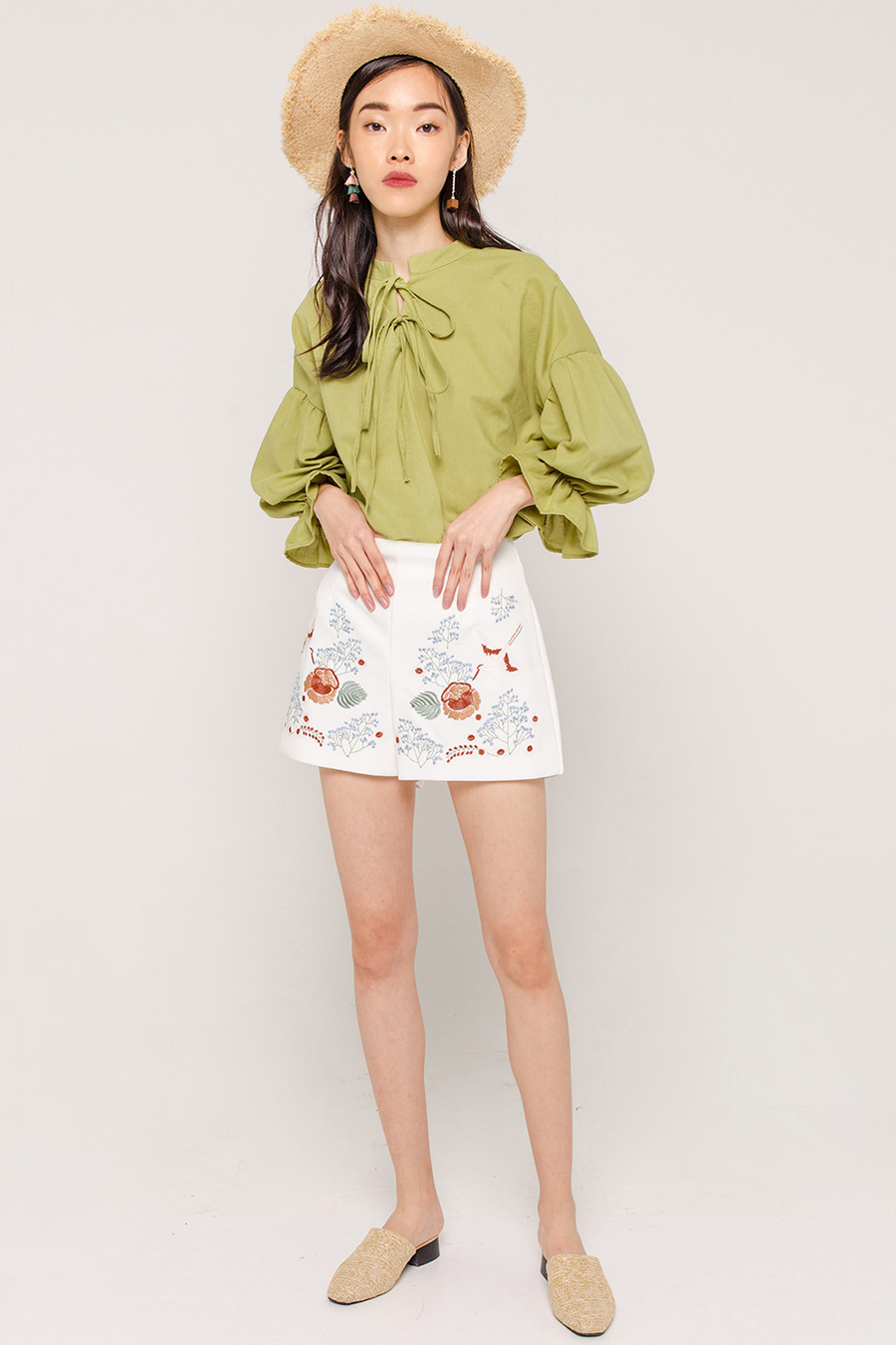 LARAMIE FLARE SLEEVE BLOUSE - OLIVE GREEN [QUEENDOM]