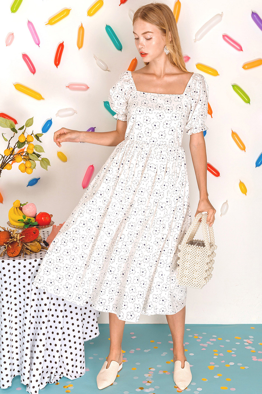 *BO* LEAH DRESS - IVORY GARLAND [BY MODPARADE]