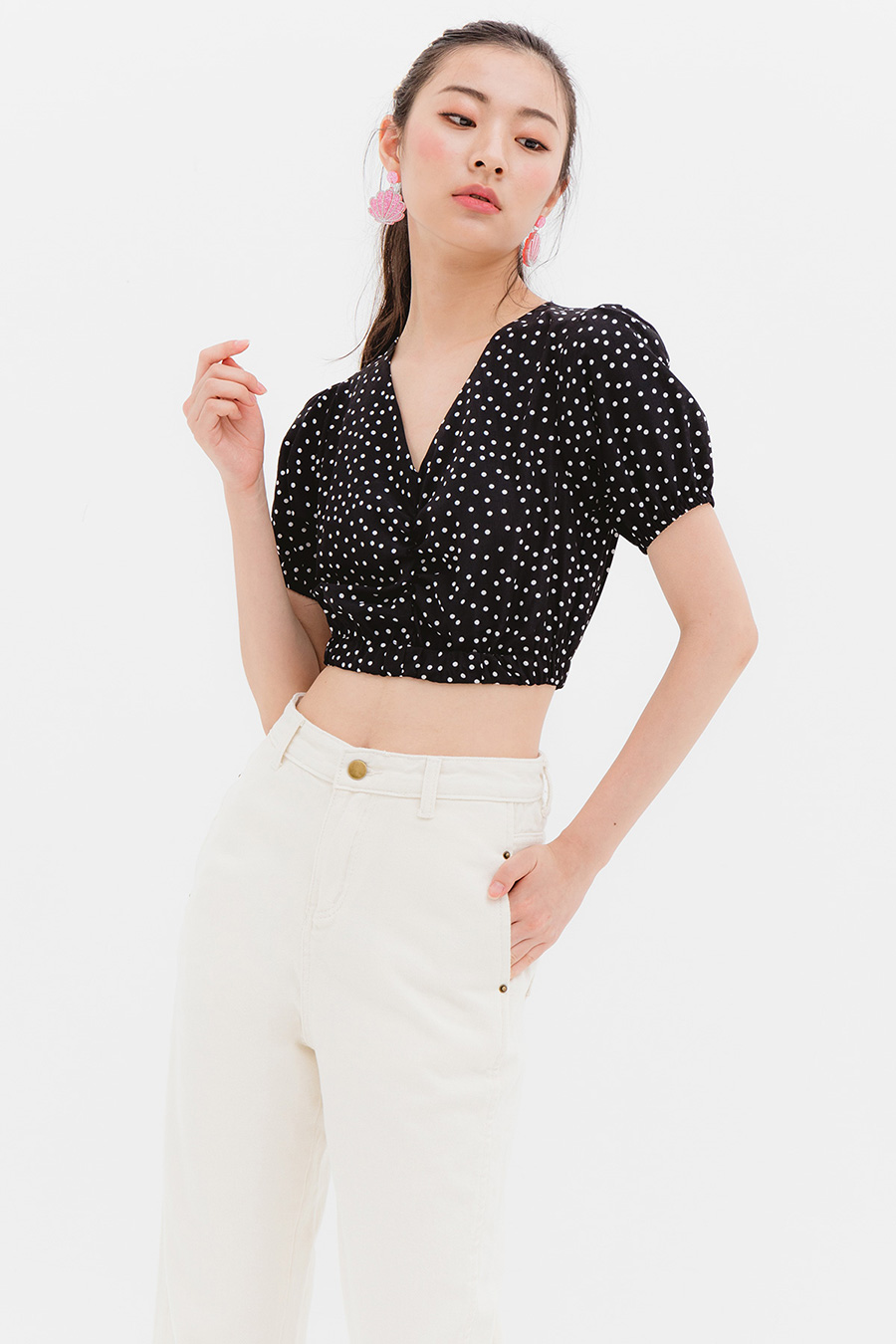 *BO* LEONE TOP - NOIR DOTTY
