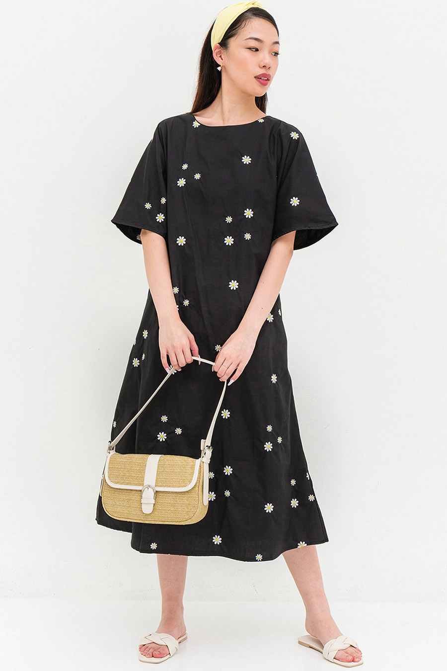 *BO* LISA DRESS - NOIR FLEUR
