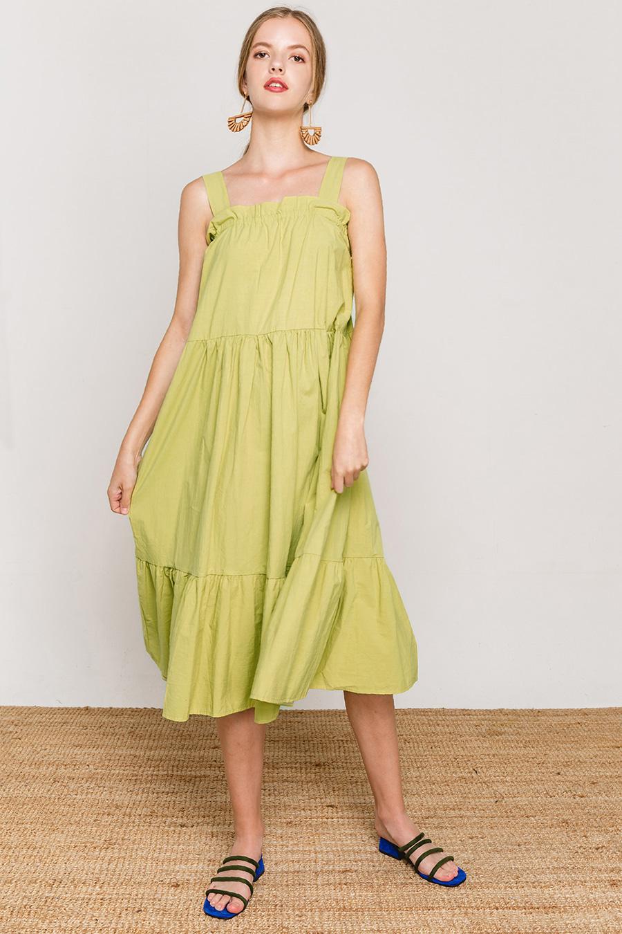 LISSET DRESS - CHARTREUSE