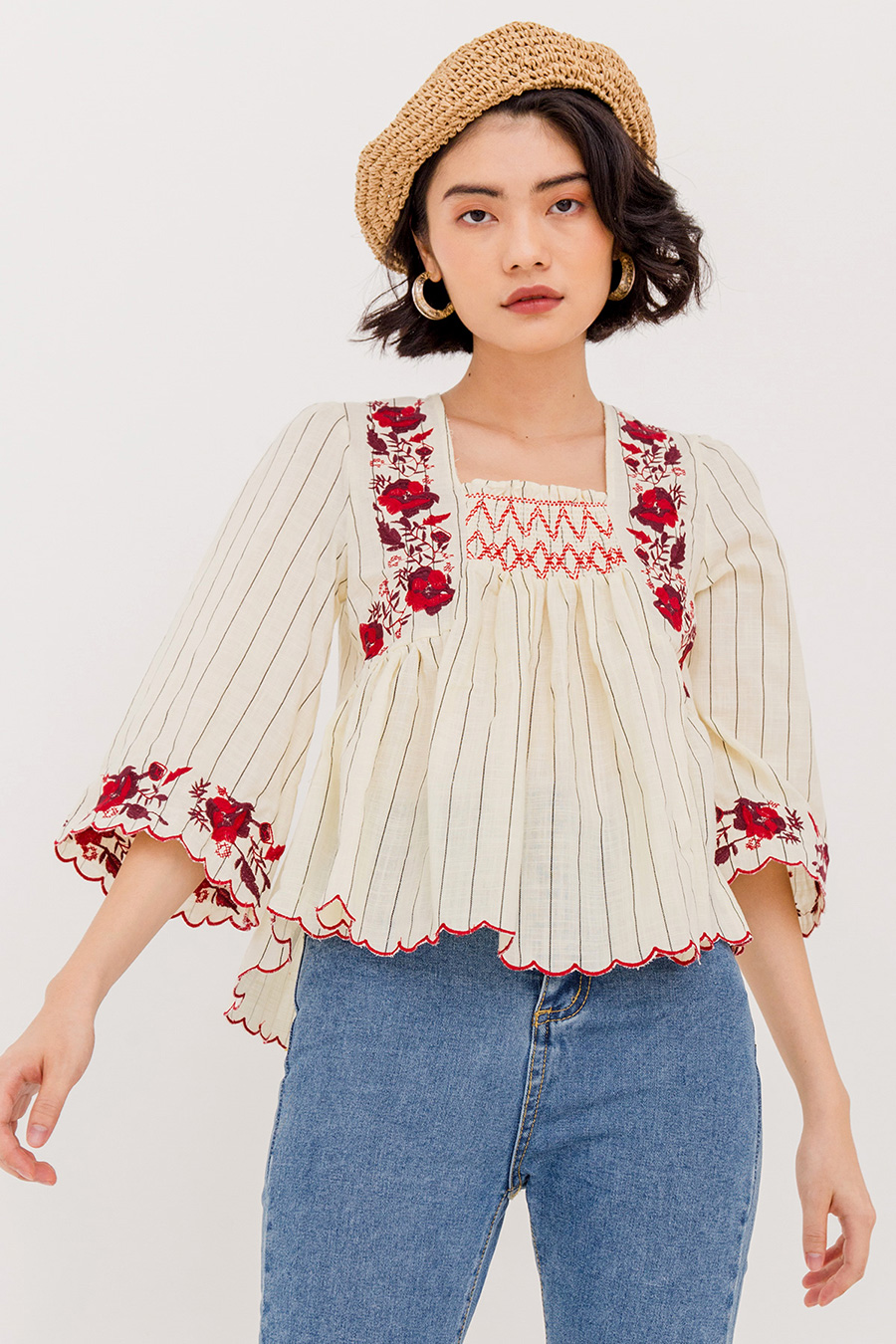 LORA FLORAL BOHO BLOUSE - IVORY CREAM