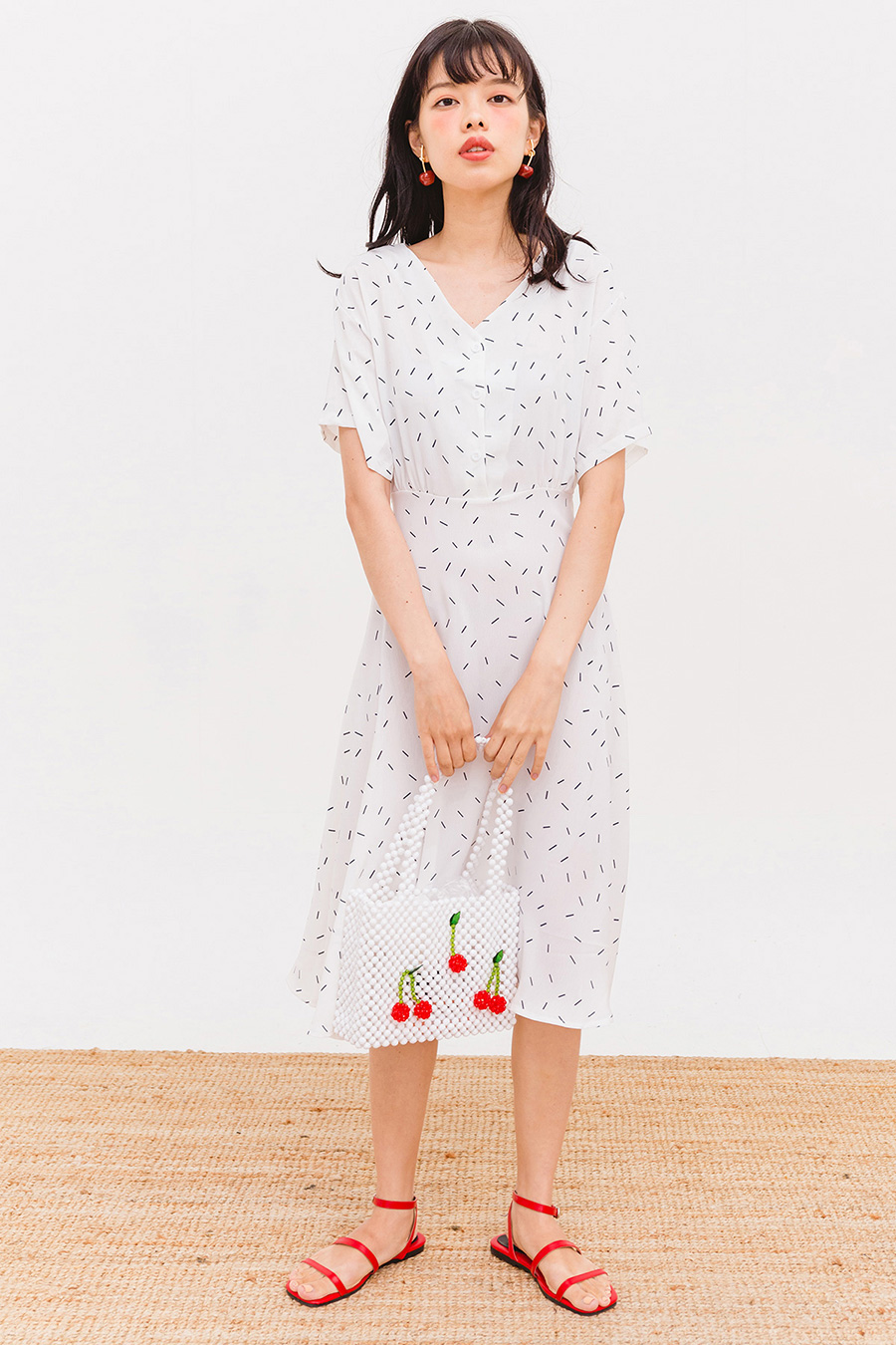LORETTO MIDI DRESS - IVORY SPRINKLES