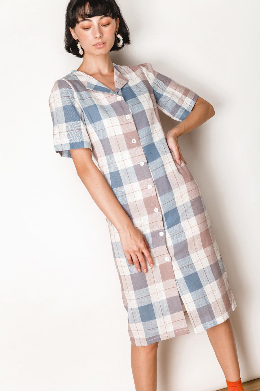 LORRAINE DRESS - GLAUCOUS CHECK
