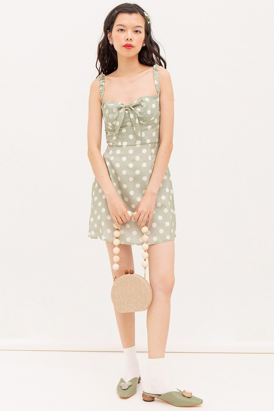 LOU DRESS - MINT DOTTY