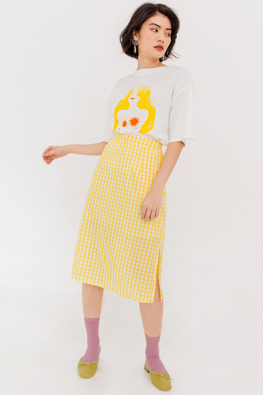 LUCILLE GINGHAM SKIRT - PASTEL YELLOW