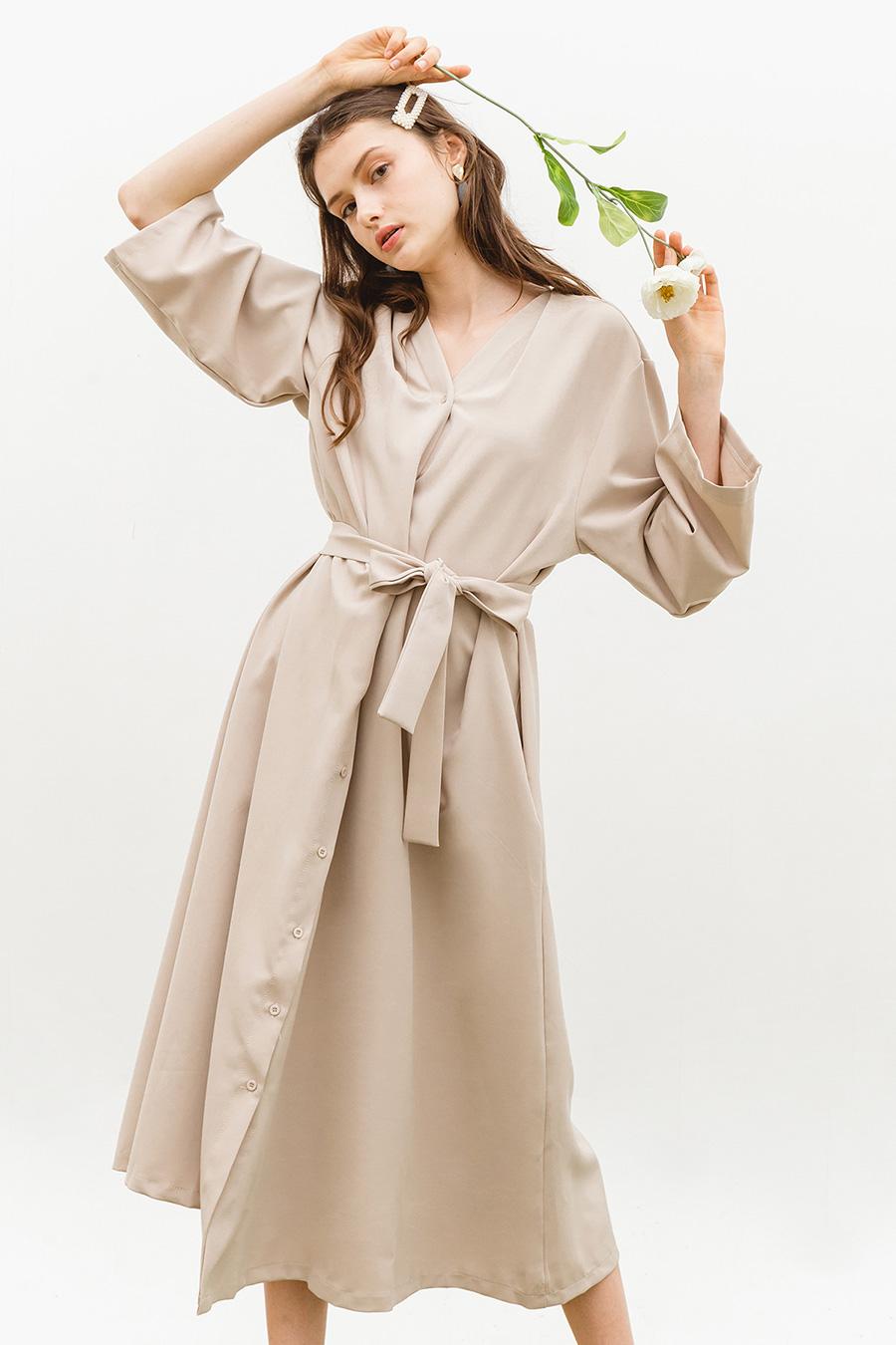 LYLA DRESS - BISCOTTI