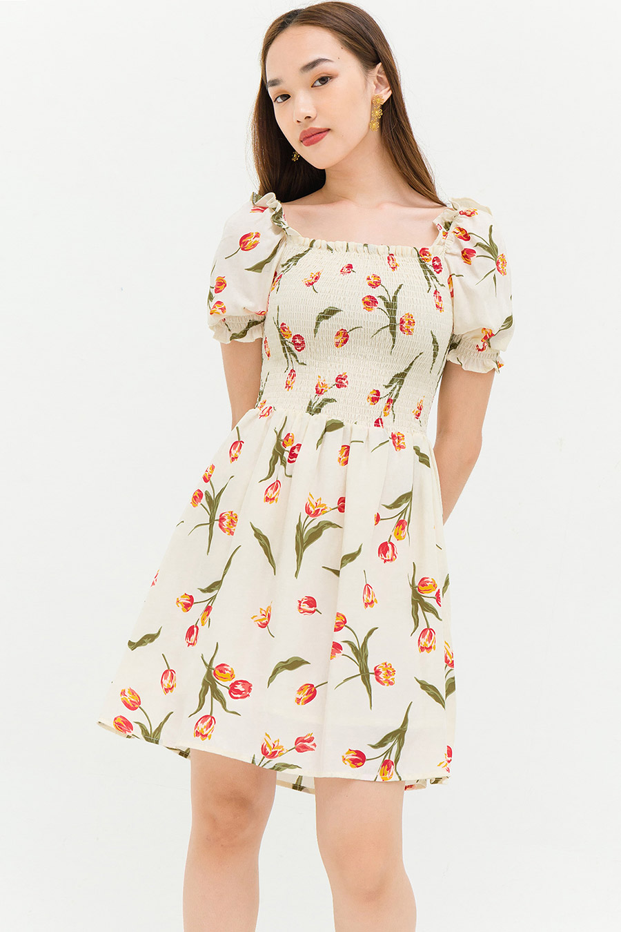 MABEL DRESS - IVORY TULIP
