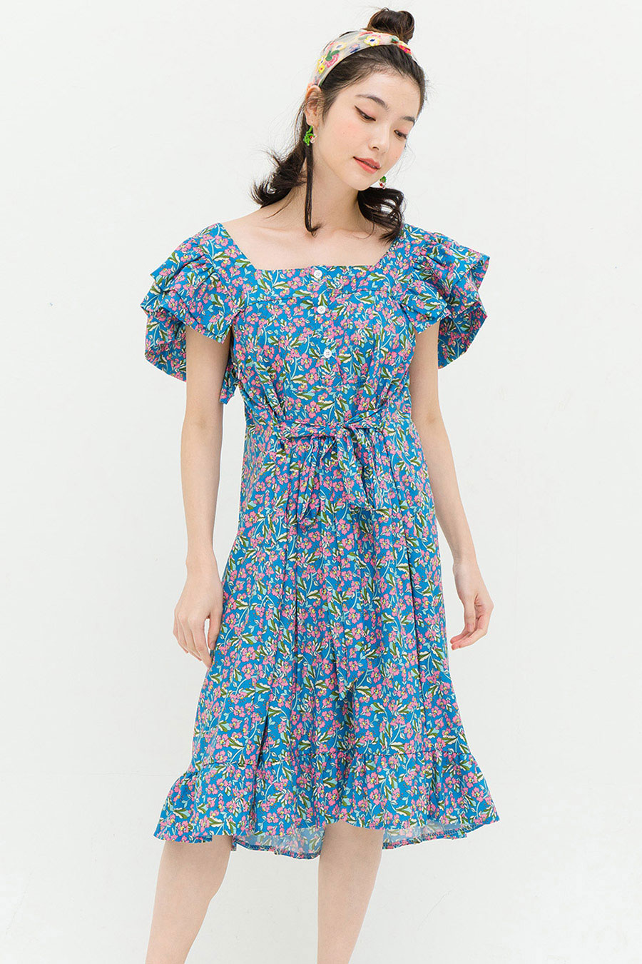 MADISON DRESS - LAGOON FLEUR