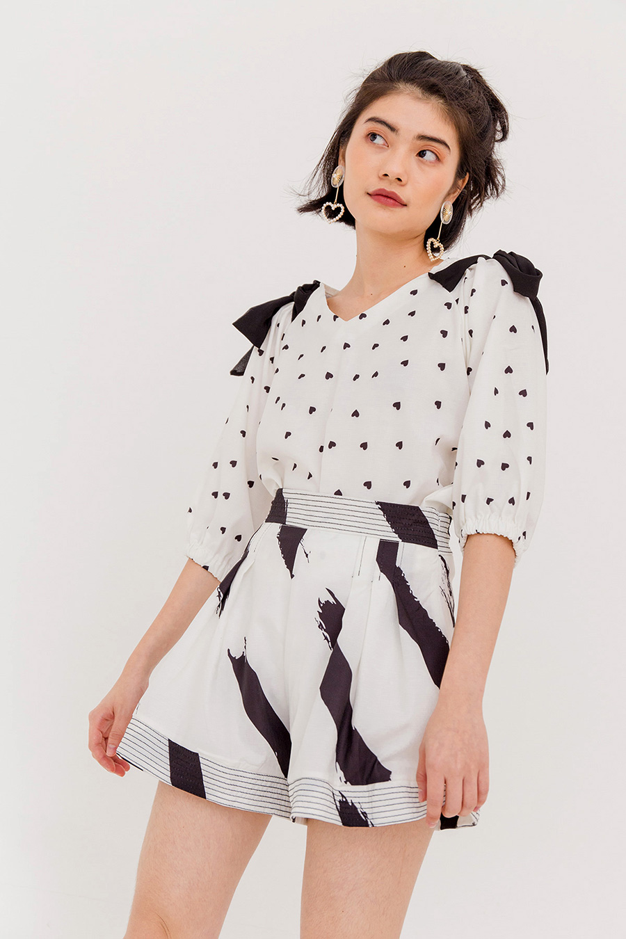 MAGGIE HEART PRINTED BLOUSE - IVORY