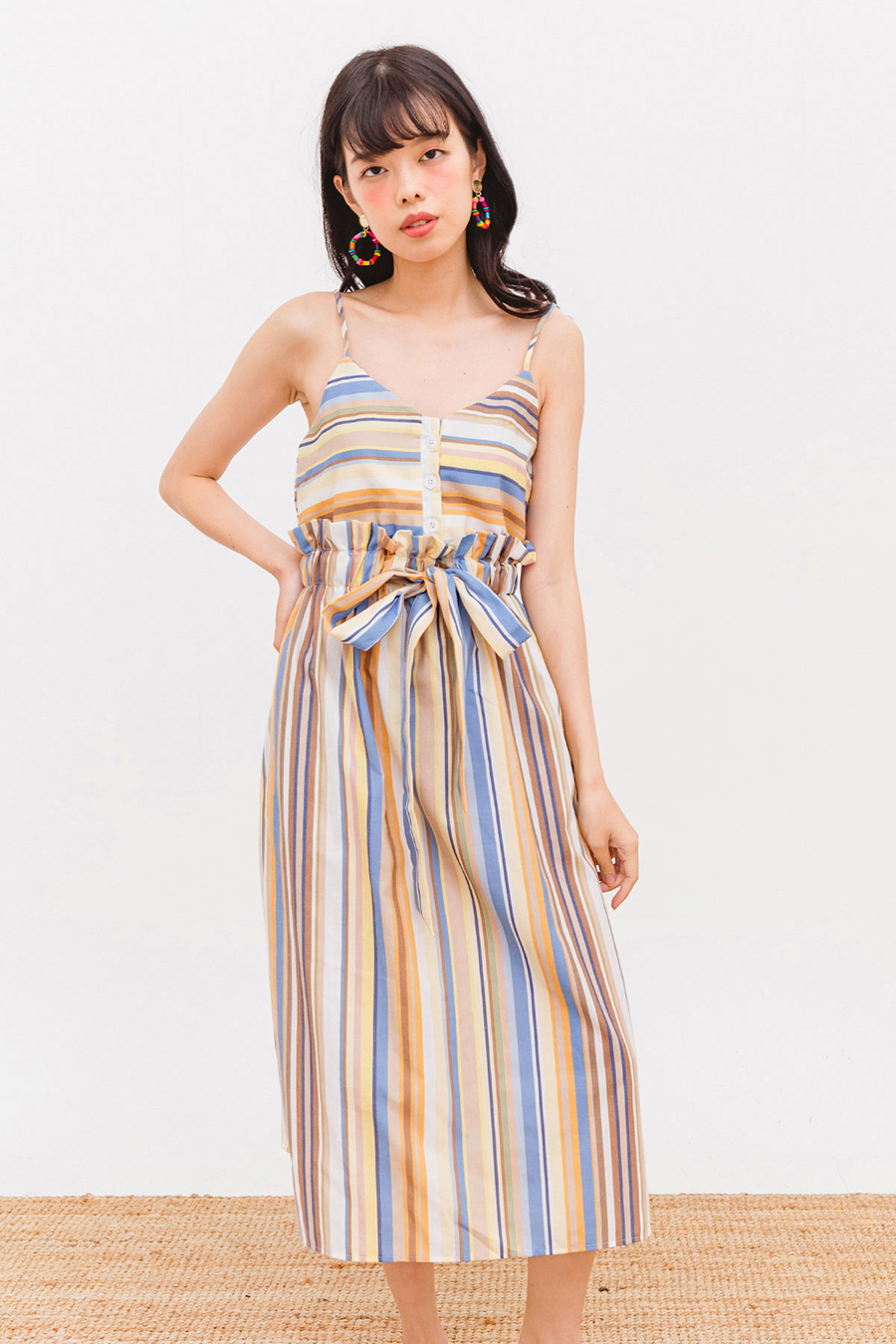 MAIRAM MIDI DRESS - OCHRE STRIPE