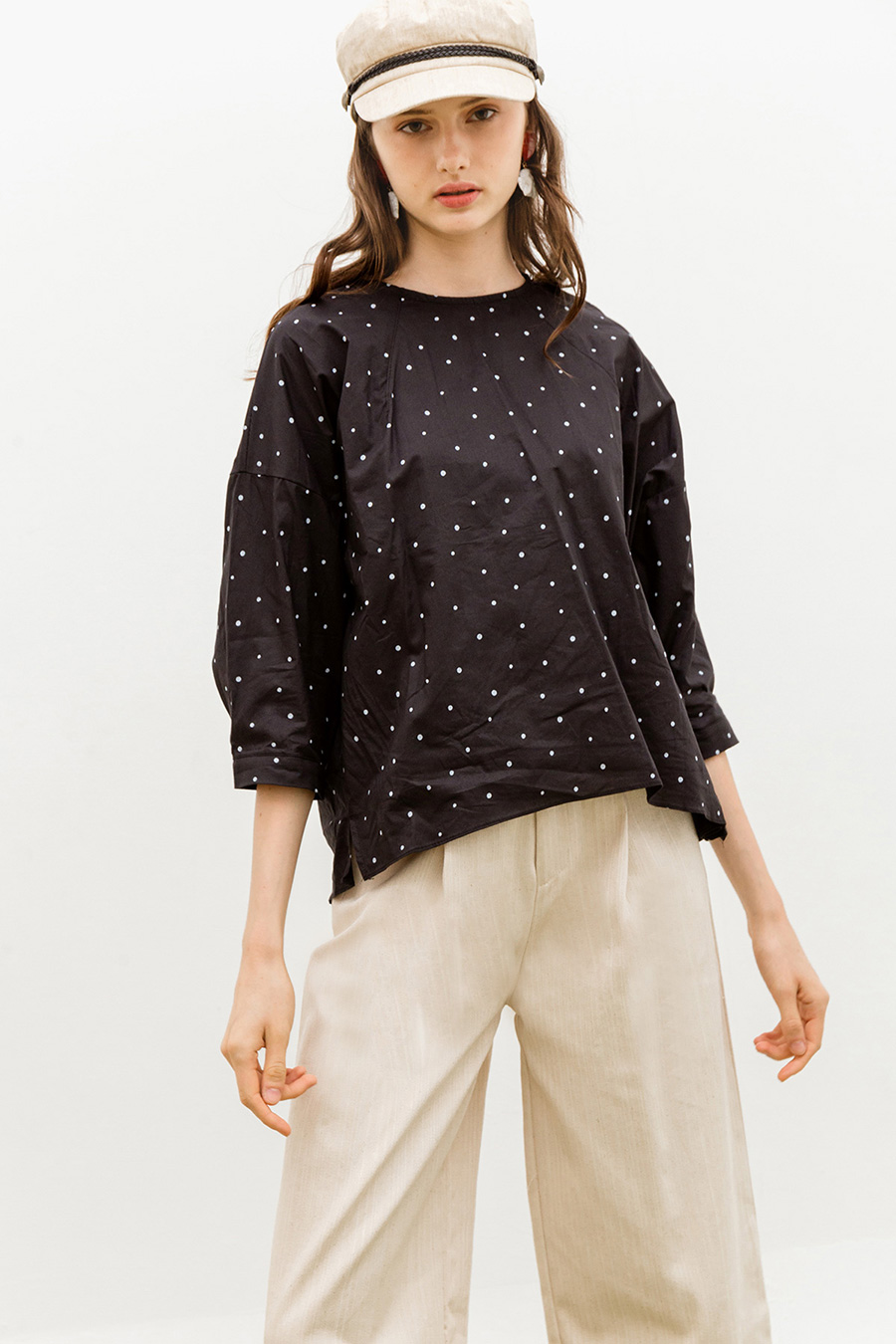 MALLORY TOP - NOIR DOTTY