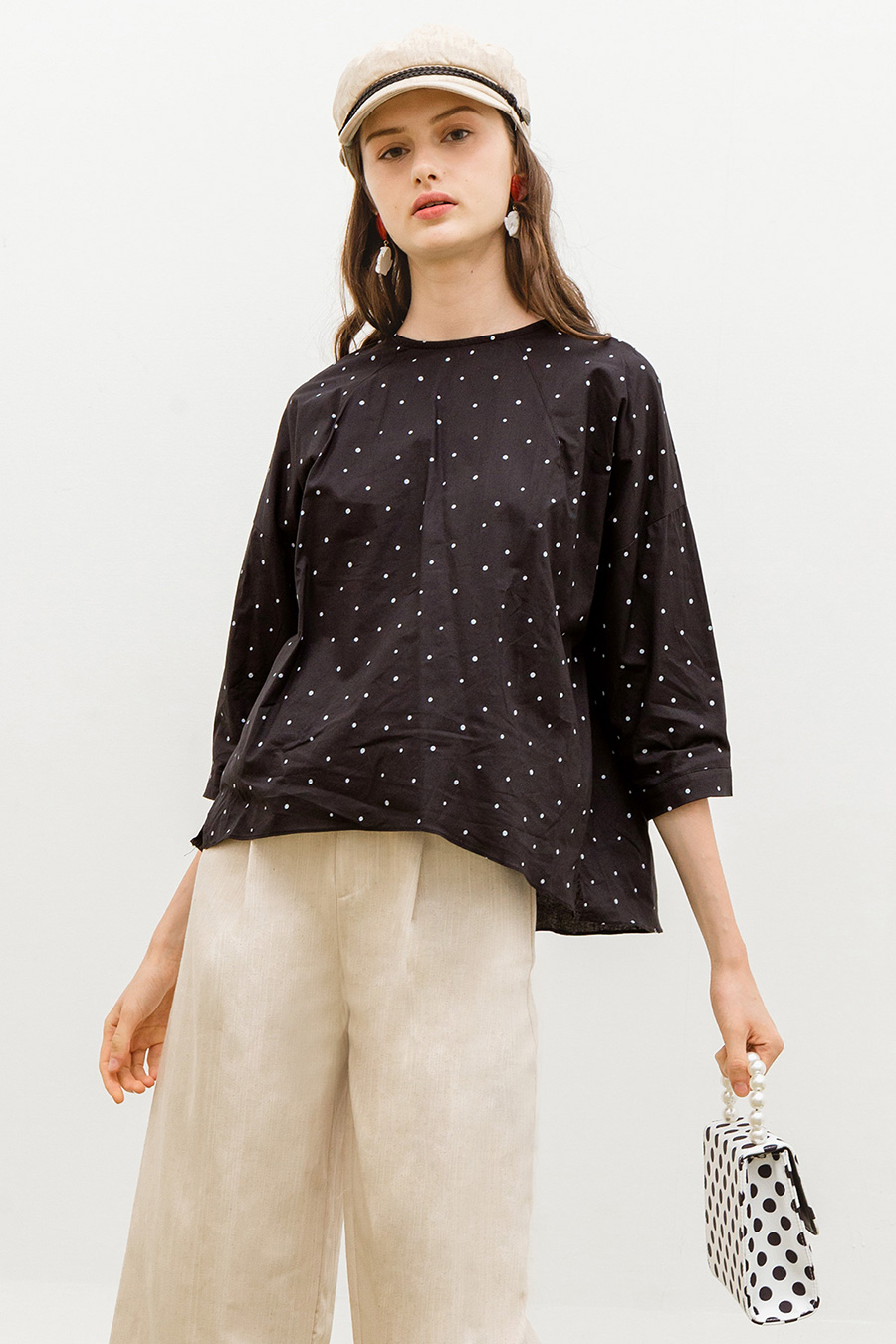*SALE* MALLORY TOP - NOIR DOTTY