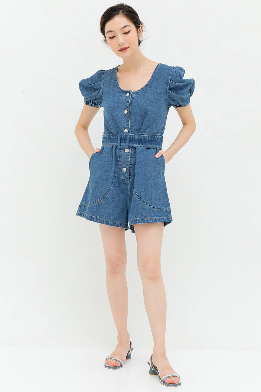 MALONE PLAYSUIT - DARK WASH