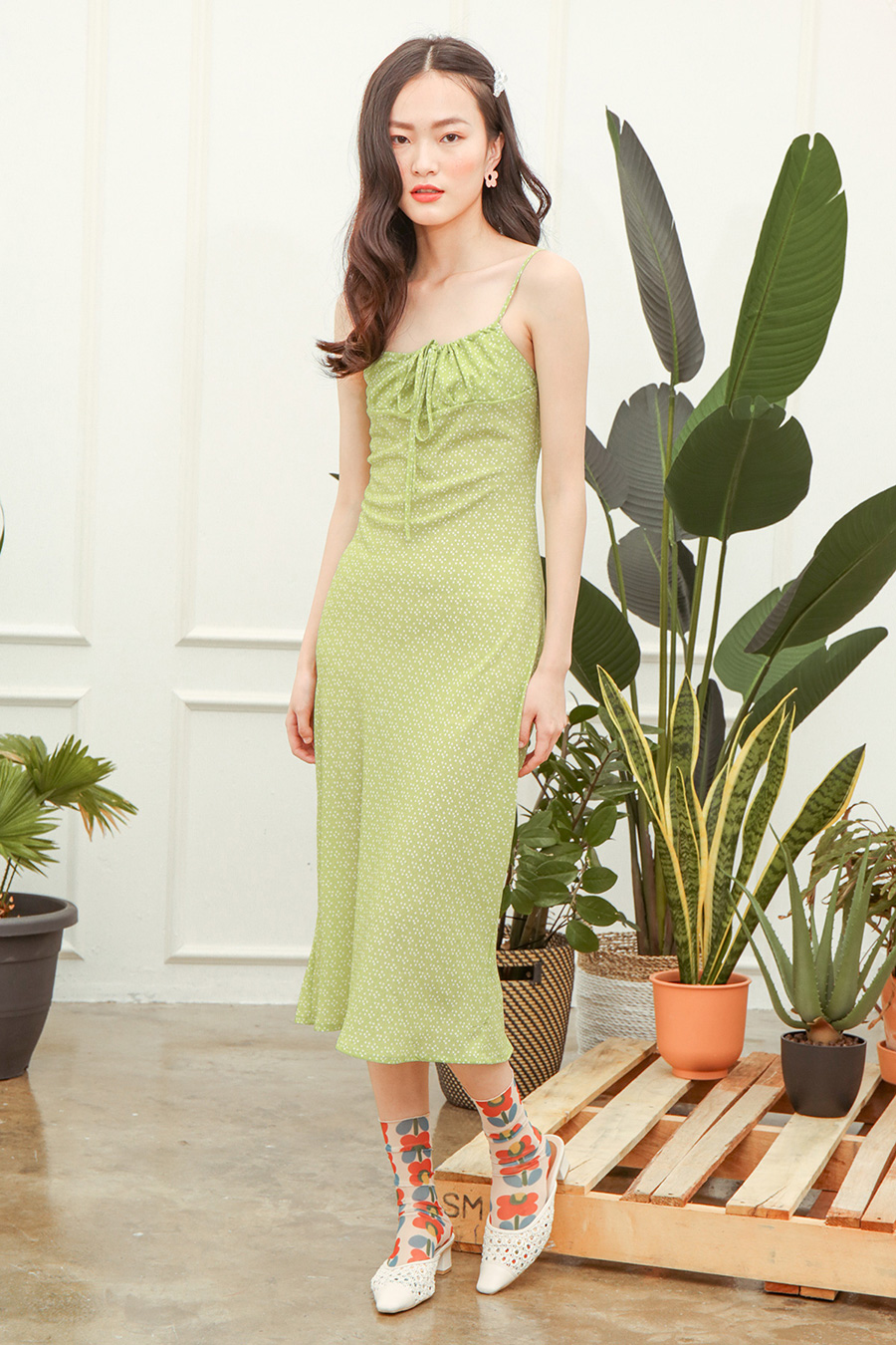 MANON DRESS - LIME DOTTY