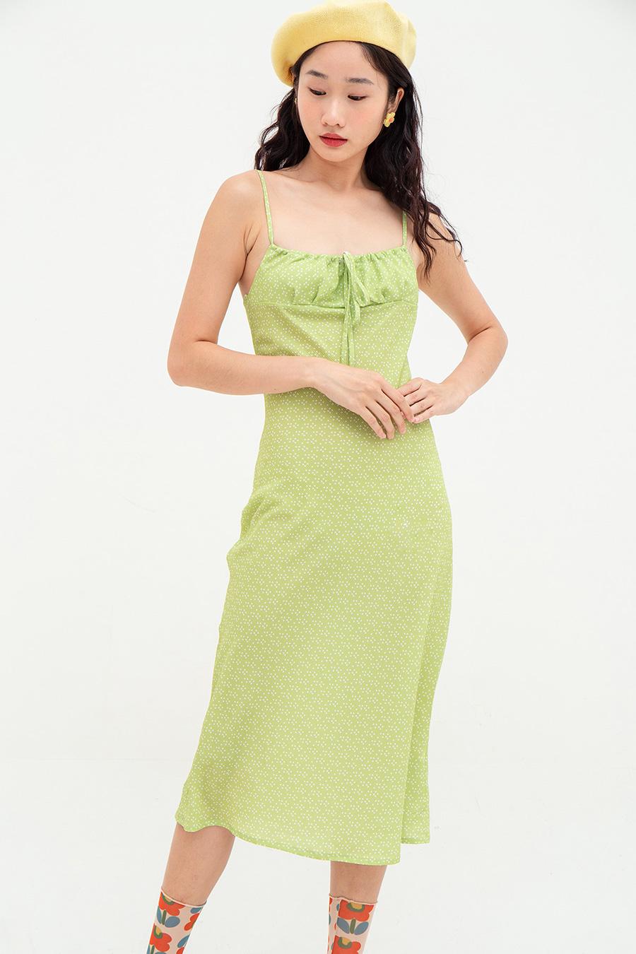 MANON DRESS - LIME DOTTY