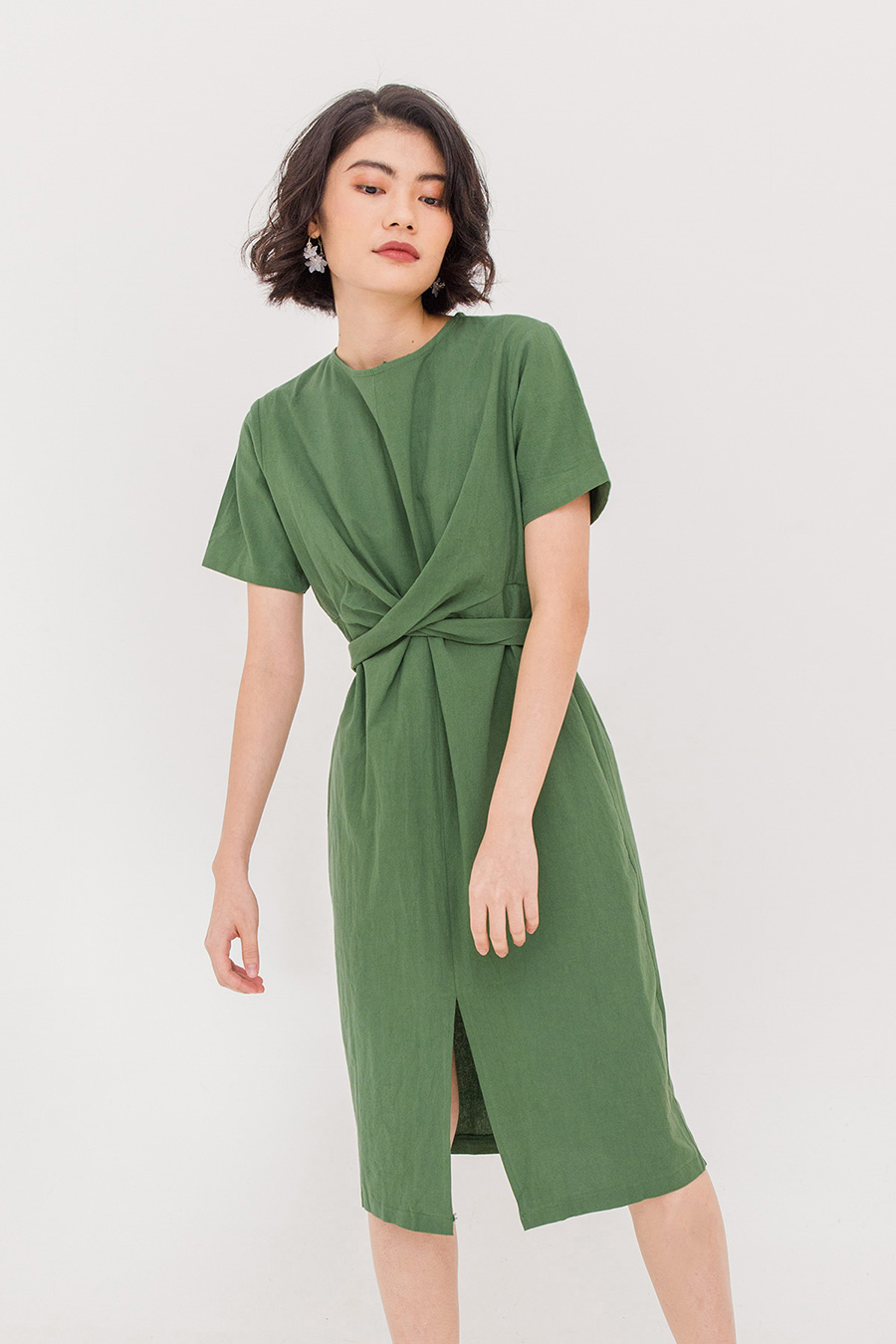 MARA WRAP DRESS - FERN GREEN