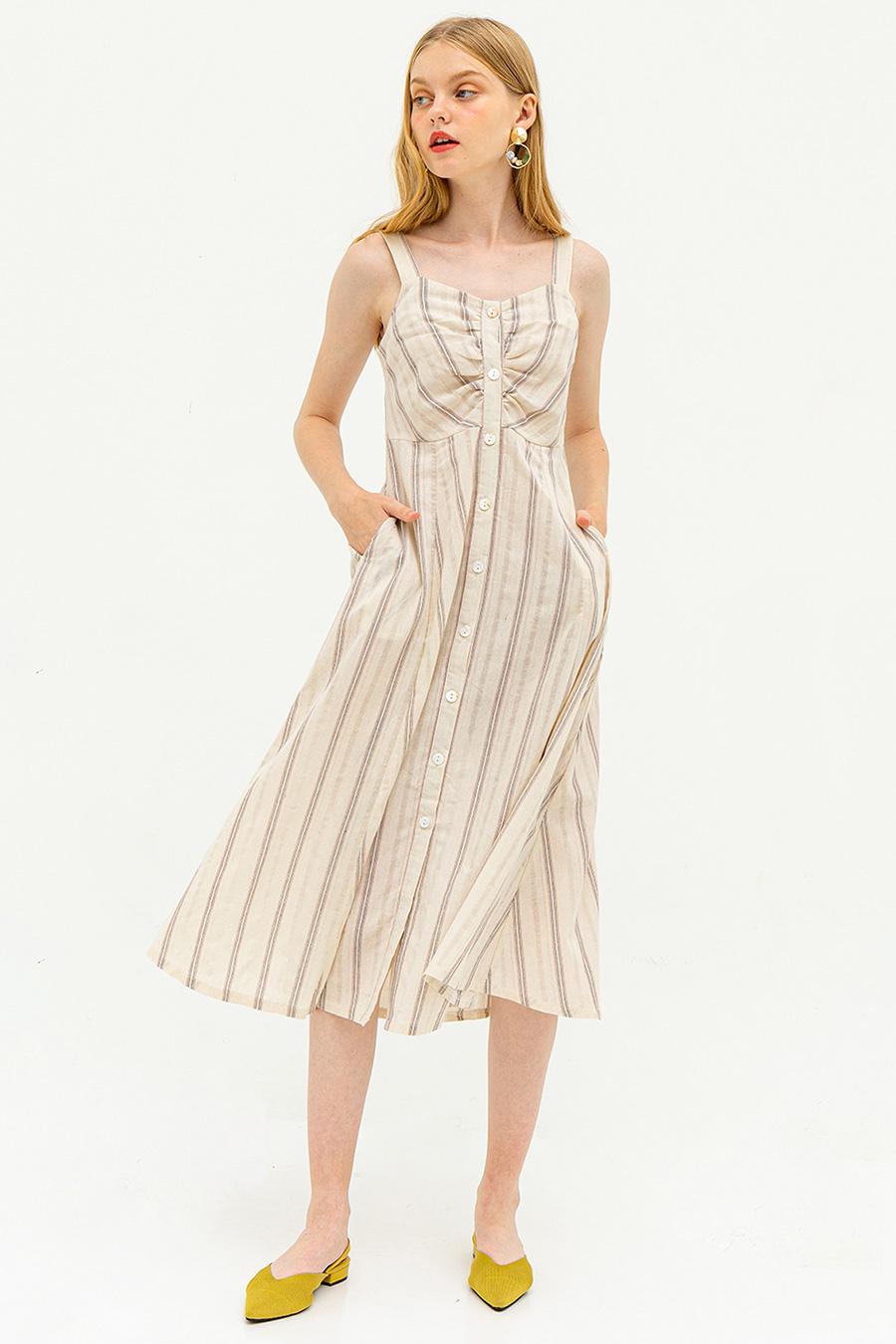 MARSTON DRESS - DESERT SAND STRIPE [BY MODPARADE]