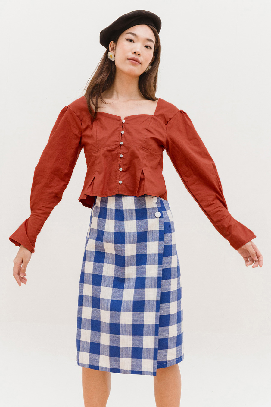 *SALE* MERINO SKIRT - VALLEY GINGHAM