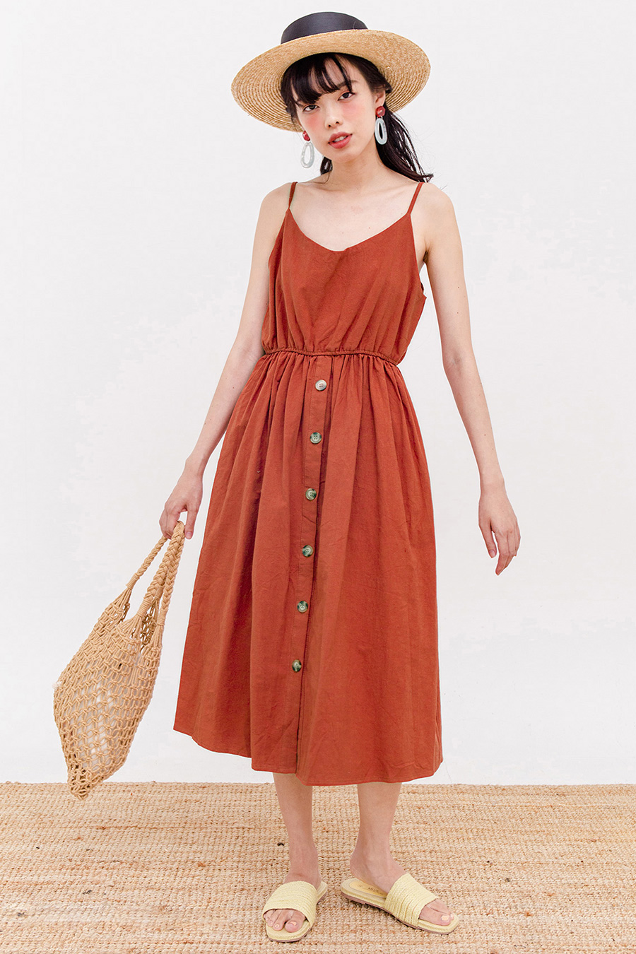 MIISTA MIDI DRESS - BURNT ORANGE