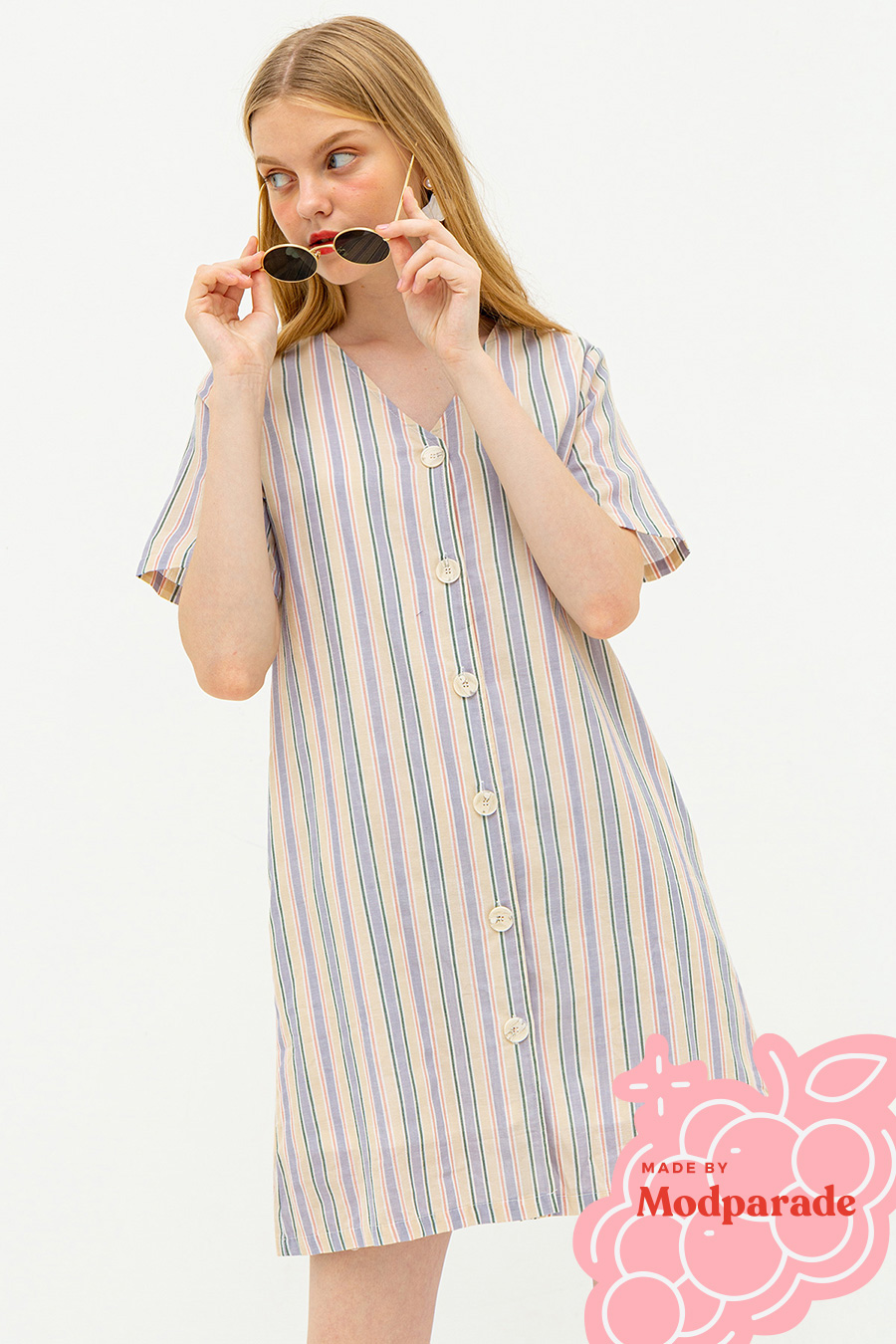MILLA DRESS - VANILLA STRIPE [BY MODPARADE]