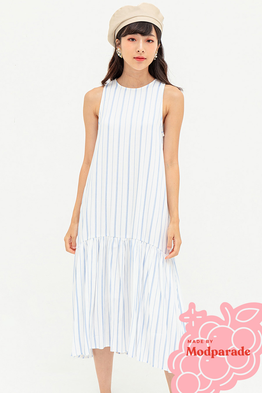 MIRANDA DRESS - BLUE HAZE STRIPE [BY MODPARADE]