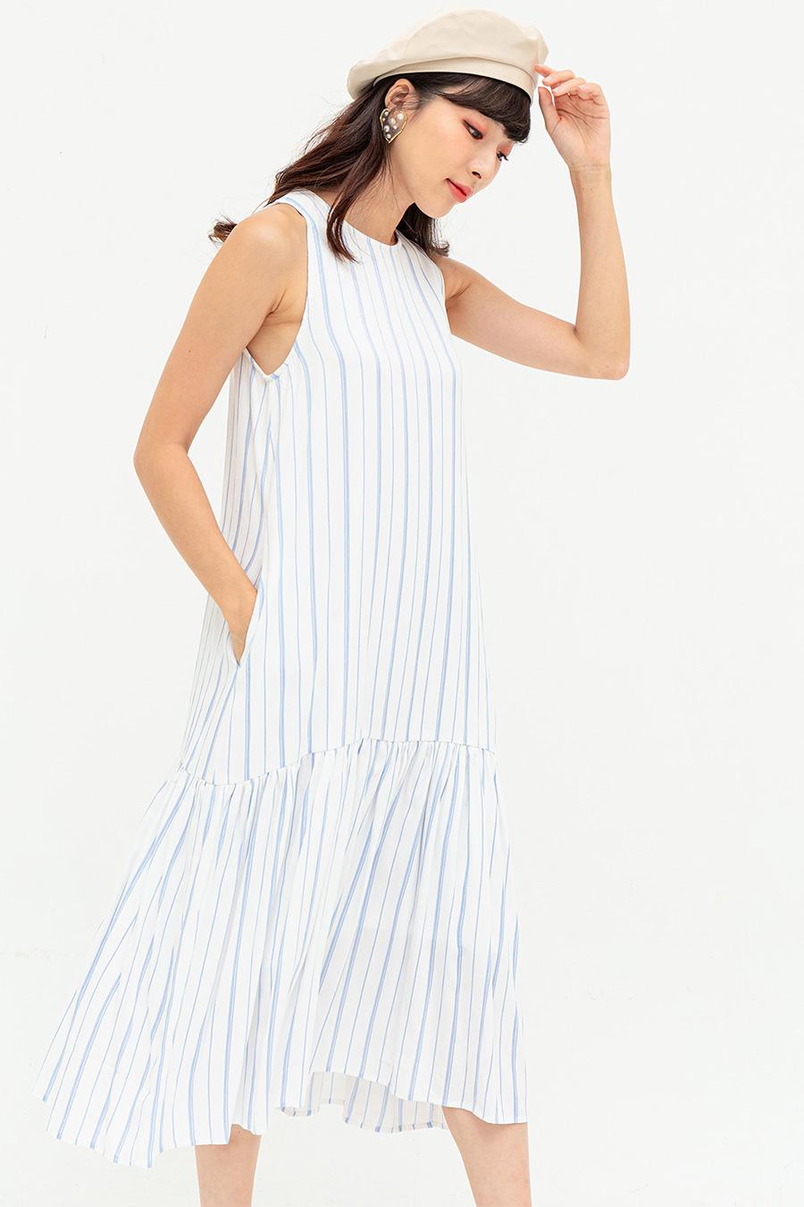 MIRANDA DRESS - BLUE HAZE STRIPE [BY MODPARADE]