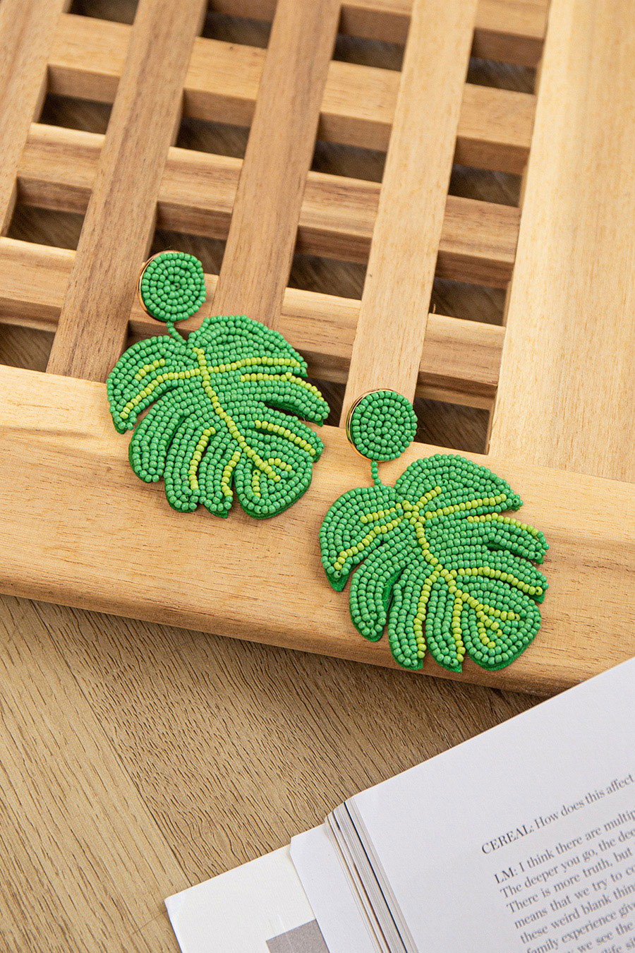 *RESTOCKED* MONSTERA EARRING - FOREST