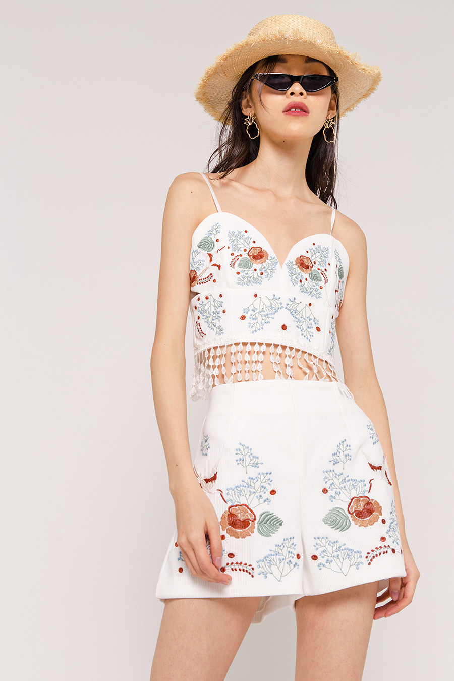 MORA EMBROIDERY BUSTIER BLOUSE - IVORY [QUEENDOM]