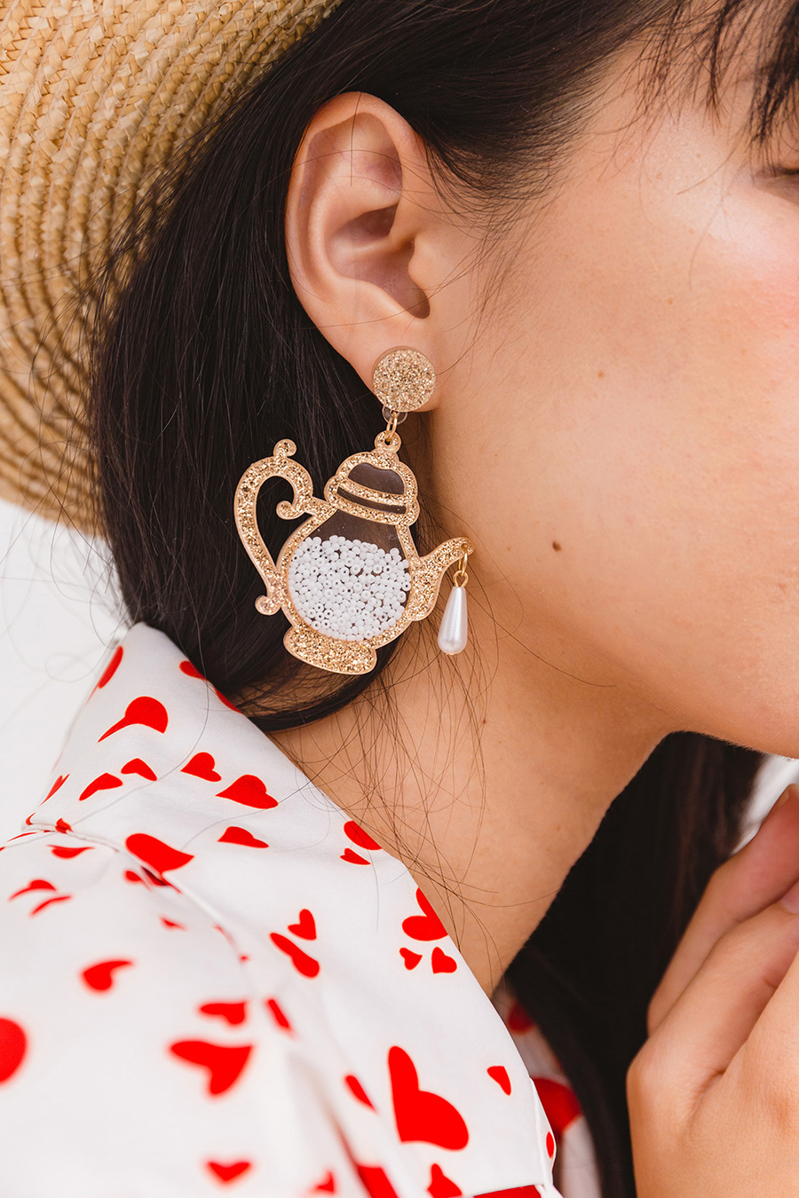 MRS POTTS AND CUP EARRING - GOLD