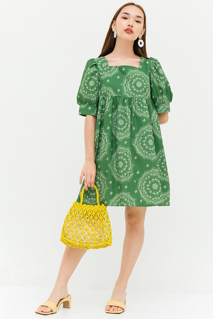 NYDIA DRESS - FOREST GREEN