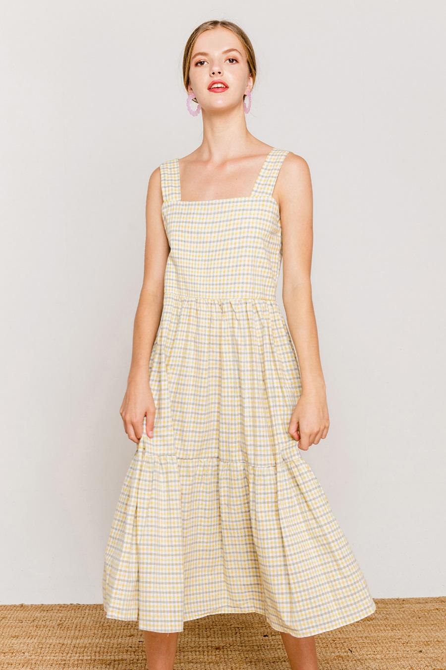 OLIVIA DRESS - CANARY CHECK