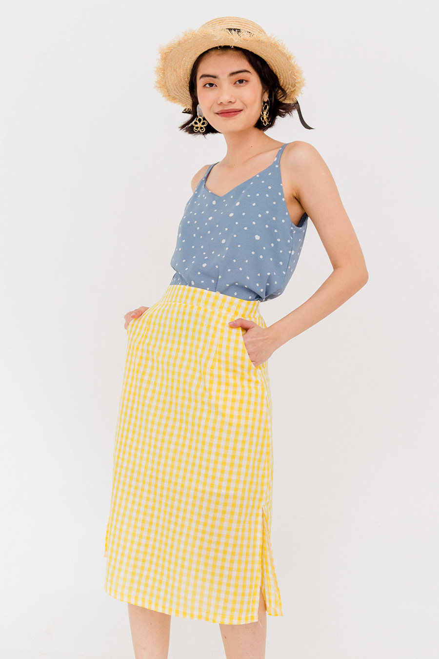 OTTOMAN DOTTED THIN STRAP BLOUSE - BLUE