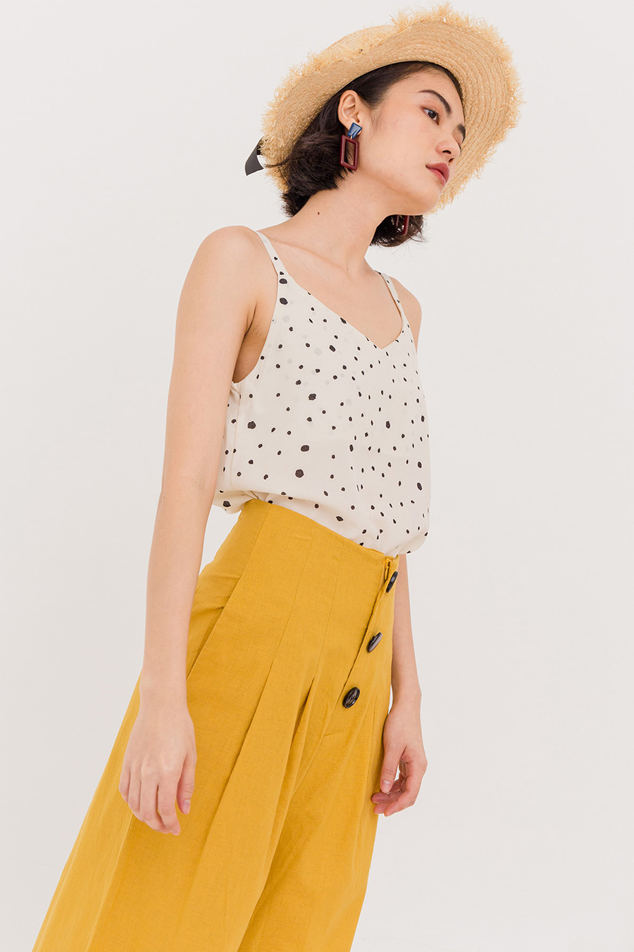 OTTOMAN DOTTED THIN STRAP BLOUSE - IVORY