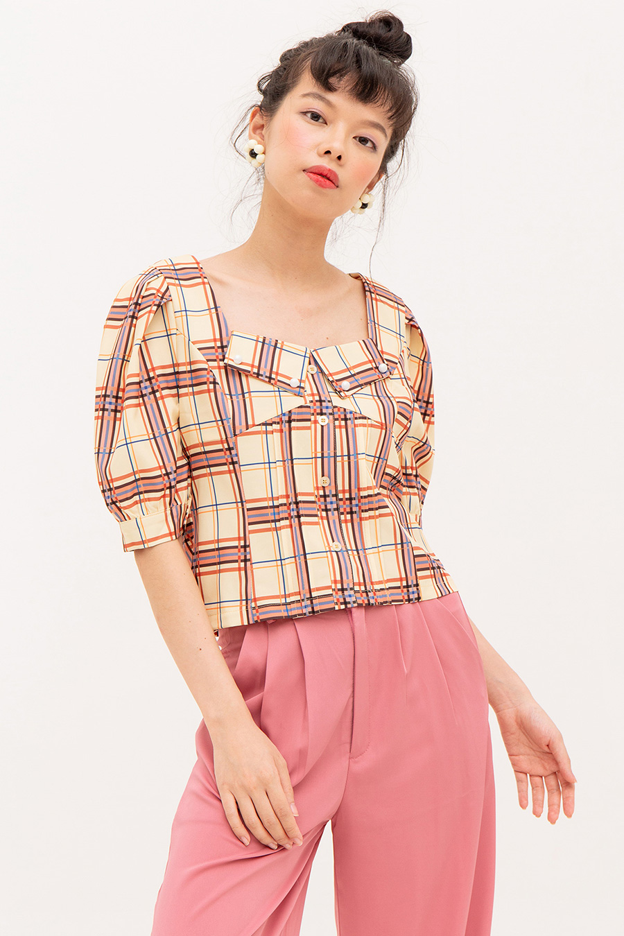 PASCALE TOP - PLAID