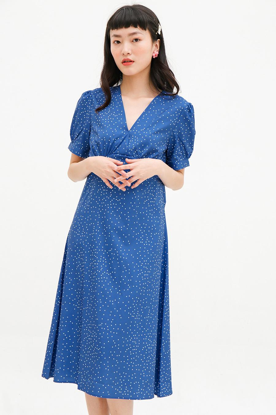 PELETIER DRESS - ROYAL DOTTY